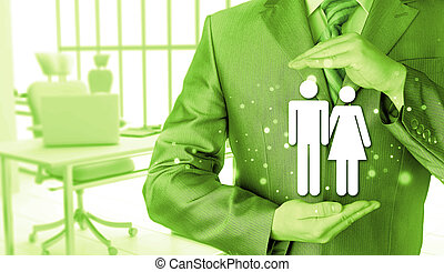 uomo affari, concetto, assicurazione, famiglia, protezione