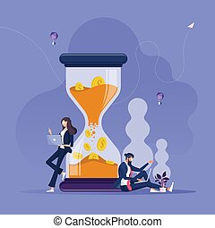 uomo affari, concetto, donna d'affari, lavoro, soldi, hourglass-time, grande