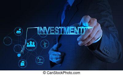 uomo affari, concetto, investimento, indicare, mano