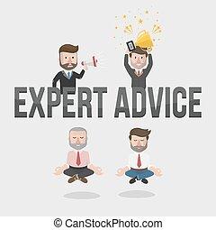 uomo affari, consiglio, esperto, illustrat