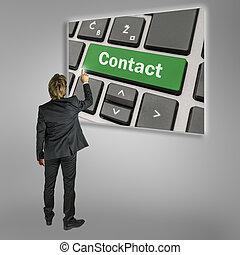 uomo affari, contatto, attivare