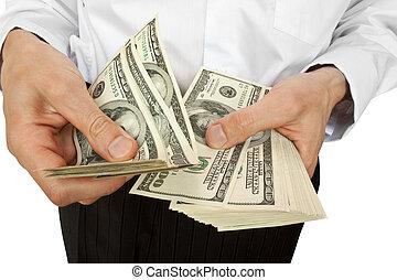 uomo affari, conto, soldi, mani