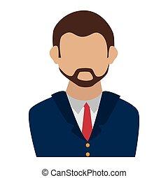 uomo, affari, cravatta, completo