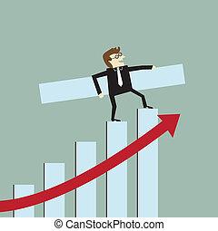 uomo affari, crescita, istogramma