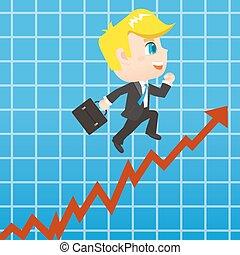 uomo affari, crescita, vendite, promots, cartone animato