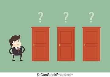 uomo affari, destra, scegliere, door.