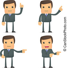 uomo affari, dito, mostra, lato, suo, divertente