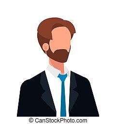 uomo affari, elegante, carattere, barbuto