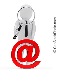 uomo affari, email, vetro, ingrandendo