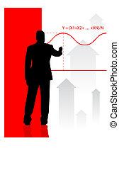 uomo affari, equazione, finanziario, fondo