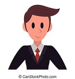 uomo affari, esecutivo, carattere, cartone animato