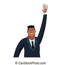 uomo affari, esecutivo, cartone animato, felice