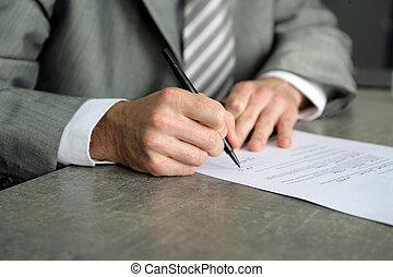 uomo affari, firmare, importante, documento