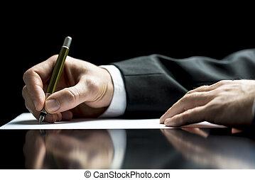 uomo affari, firmare, o, scrittura lettera