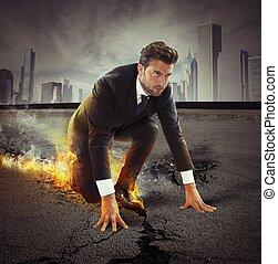 uomo affari, forte, determinazione