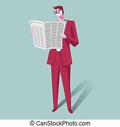 uomo affari, giornale., lettura, fondo, blue.