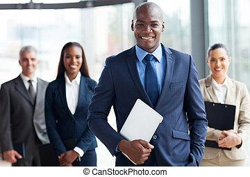 uomo affari, gruppo, businesspeople, africano