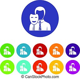 uomo affari, icone, vettore, set, appartamento