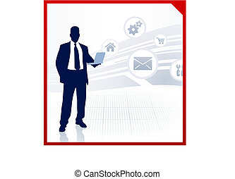 uomo affari, internet, visualizzazione, icone