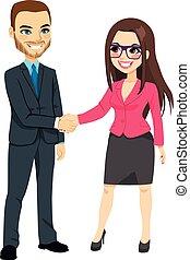 uomo affari, mani scotendo, donna d'affari