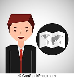 uomo affari, mappa, turista, viaggiatore