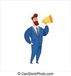 uomo affari, megafono, vettore, completo