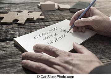 uomo affari, messaggio, inspirational, scrittura