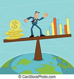 uomo affari, moneta, equilibratura, grafico