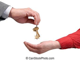 uomo affari, passare, donna, chiave, mano