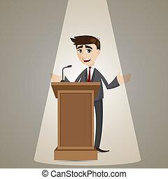 uomo affari, podio, cartone animato, parlare