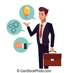 uomo affari, presentazione, discorso