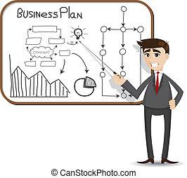uomo affari, presentazione, piano, affari, cartone animato