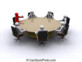 uomo affari, riunione, 3d