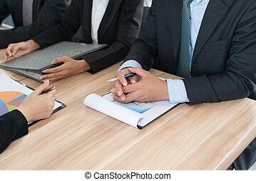 uomo affari, riunione, squadra
