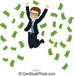 uomo affari, saltare, felice, soldi