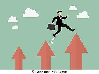 uomo affari, saltare, freccia, più alto