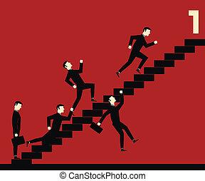 uomo affari, scala, concorrenza