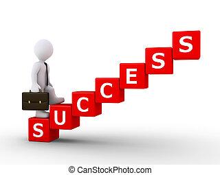 uomo affari, scale, successo, rampicante