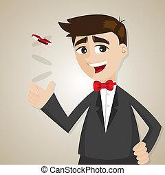 uomo affari, scheggia, casinò, cartone animato