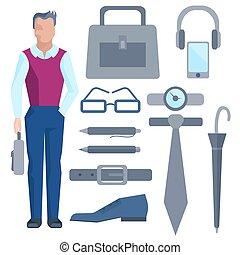 uomo affari, set, accessori, ufficio, cartone animato