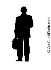 uomo affari, silhouette, isolato