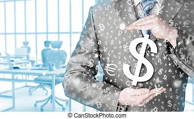 uomo affari, simbolo, dollaro, protezione