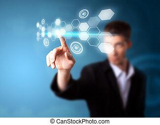 uomo affari, tecnologia moderna, lavorativo