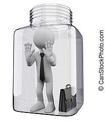 uomo affari, vaso, persone., 3d, vetro, bianco