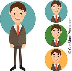 uomo affari, .vector, stile, disegno, illustrazione, appartamento