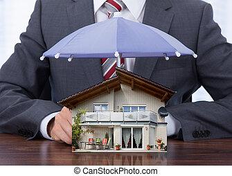 uomo affari, vestire, ombrello, casa