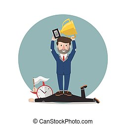 uomo affari, vincitore, tempo, illustrazione