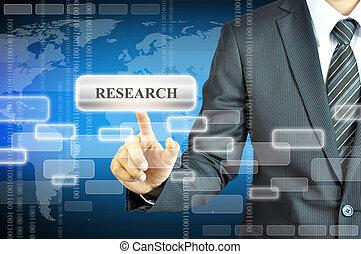 uomo affari, virtuale, ricerca, schermo, segno, toccante