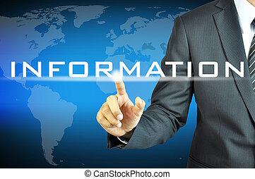 uomo affari, virtuale, schermo, segno, informazioni, toccante