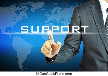 uomo affari, virtuale, schermo, sostegno, segno, toccante